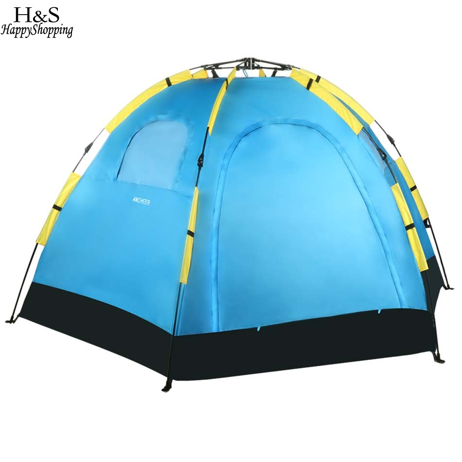 New Ancheer Blue 5 8 Person Waterproof Polyester Automatic Pop Up Portable C&ing Hiking Tent Carry Bag-in Tents from Sports u0026 Entertainment on ...  sc 1 st  AliExpress.com & New Ancheer Blue 5 8 Person Waterproof Polyester Automatic Pop Up ...