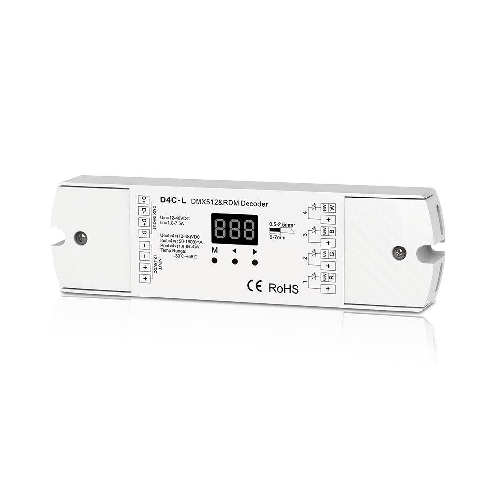 4CH Constant Current DMX512 Decoder RDM Decoder RGBW Controller 4 Channel Dimming Controller 12-48VDC цена 2016