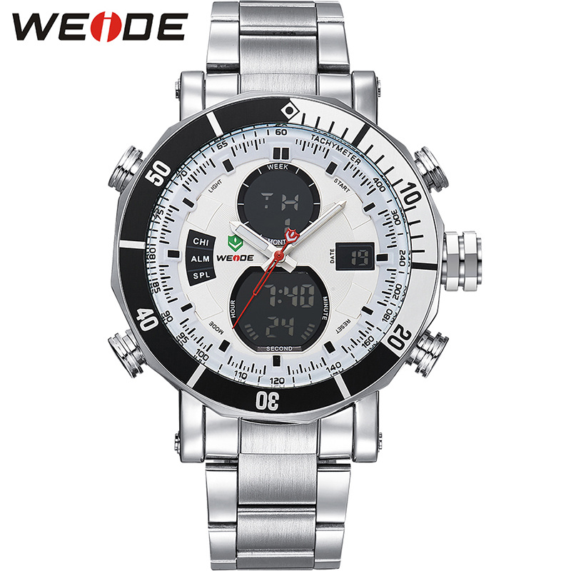 Подробнее о WEIDE Men's Sport Watch Luxury Dual Time Zone LCD Dial Alarm Stopwatch Wristwatches Steel Strap Relogio Quartz Digital Military weide dual time zone analog quartz stainless steel wrist watch date alarm stopwatch display waterproof new luxury big dial clock