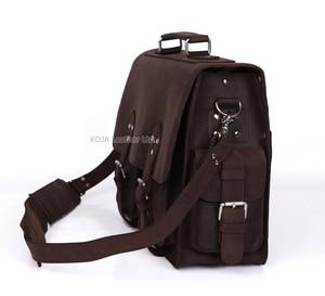 Image 3 - Vintage çılgın at deri erkek seyahat çantası bagajı çantası erkekler silindir çanta haftasonu büyük hakiki deri omuzdan askili çanta Crossbody büyük