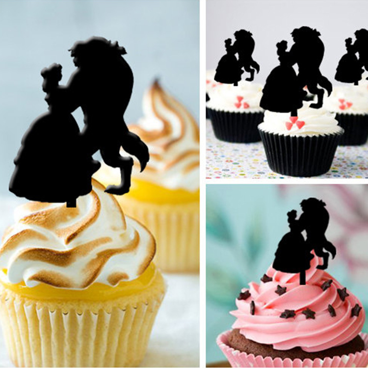 Free Shipping 8pcsset Wedding Acrylic Cupcake Topper Engagement