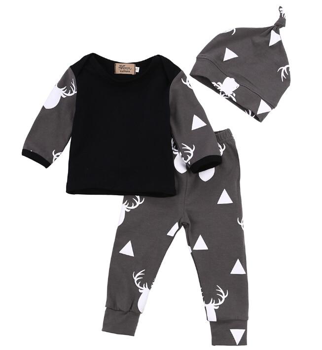 Cute Newborn Baby Girl Boy Clothes Deer Tops T-shirt Long Sleeve + Pants Casual Hat Cap 3pcs Outfits Set Autumn