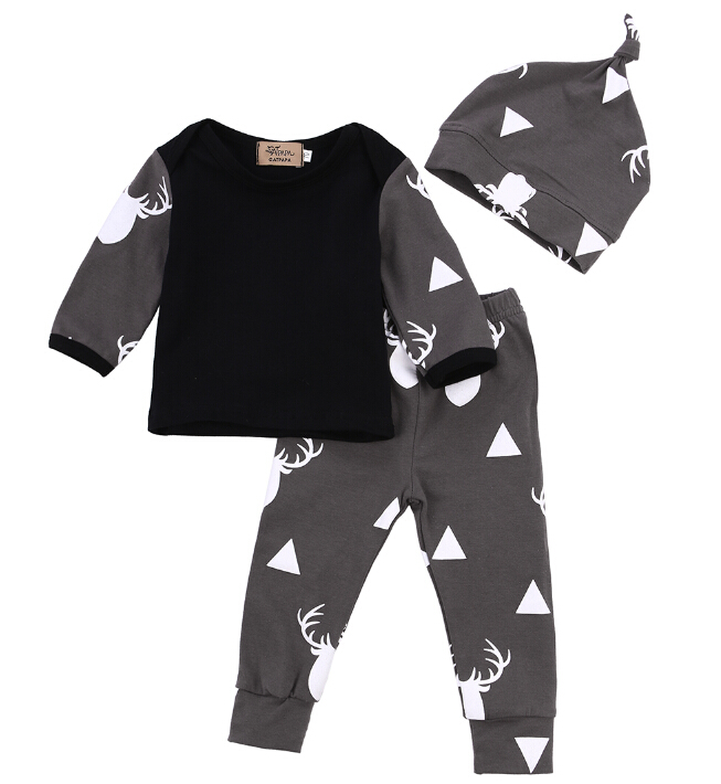 Cute Newborn Baby Girl Boy Clothes Deer Tops T-shirt Long Sleeve + Pants Casual Hat Cap 3pcs Outfits Set Autumn baby fox print clothes set newborn baby boy girl long sleeve t shirt tops pants 2017 new hot fall bebes outfit kids clothing set