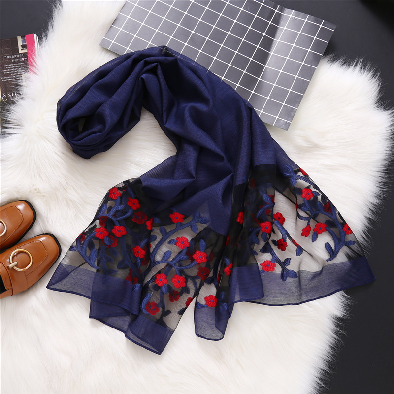 Women Cotton Silk   Scarves   Female hollow Embroidery Organza Lace   Scarf   Lady Girls Luxury Brand sunscreen Beach   Wrap   Shawl Lic