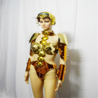 EC751 Gold mirror robot suit women stage catwalk wears performance bodysuit dj dress clothe bar show outfits armor costumes club