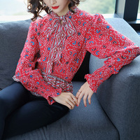 Womens Tops and Blouses Korean Style Blouse Women Clothes Fashion 2018 New Spring Long Sleeves Print Tunic Shirt Work Wear
