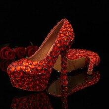 Neue Ankunft 2016 Red Bling Frauen Hochzeit Schuhe Strass Braut Pumpen Diamant High Heels Weibliche Elegante Abendgesellschaft Schuhe