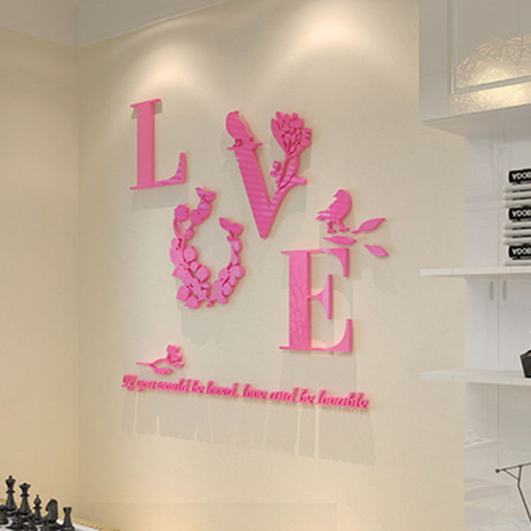 Acrylic Wall Stickers DIY Flower Love Letter Removable 3D Mirror ...
