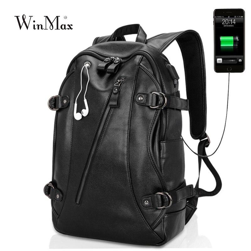 Nouveauté 2018 hommes sac à dos mode PU cuir sacs à dos externe USB Charge pochette d'ordinateur prise casque mâle antivol sac à dos