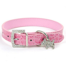 1pcs Crystal Pendant Dog Collars Puppy Cats Pet Buckle Candy Color Dogs Neck Strap PU Leather Puppy Collar Perro Dog Accessories