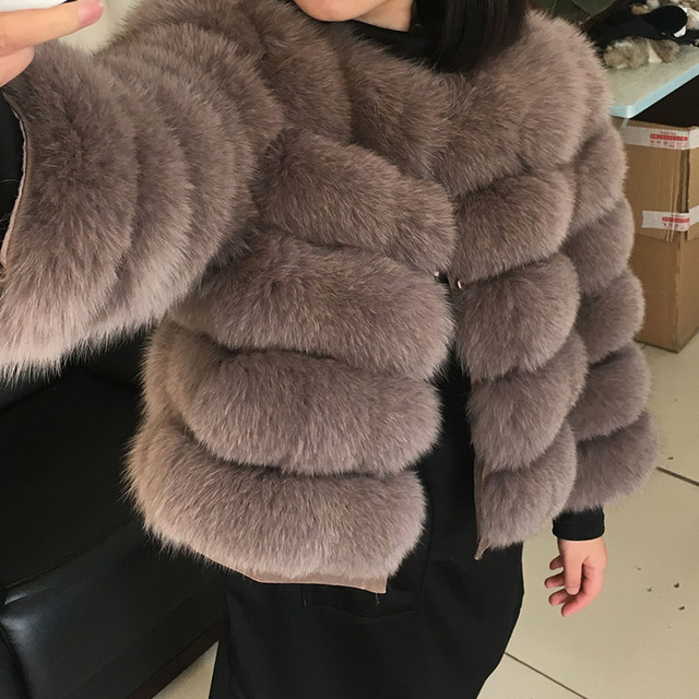 maomaokong 50CM Natural Real Fox Fur CoatWomen Winter natural fur Vest Jacket Fashion silm Outwear Real Fox Fur Vest Coat Fox 1