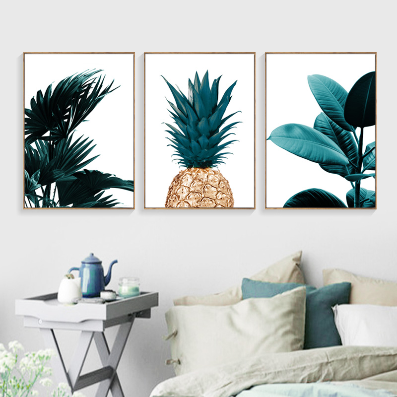 Pineapple Wall Art Canvas gleznošanas ainava Wall Painting Banana Leaf Canvas Art Print Drukāt Plakāti un izdrukas