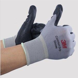 Image 5 - 3 M כפפות עבודה להחליק עמיד ללבוש עמיד אחיזת נוחות גומי Nitrile כפפות בטיחות כפפות נגד העבודה כפפות גודל L/M