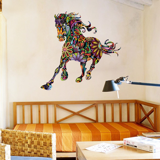 Beautiful Colorful Horse Nordic Style Wall Stickers Kids Baby Room Personality Style  Cartoon Rainbow Horse Wallpaper Art