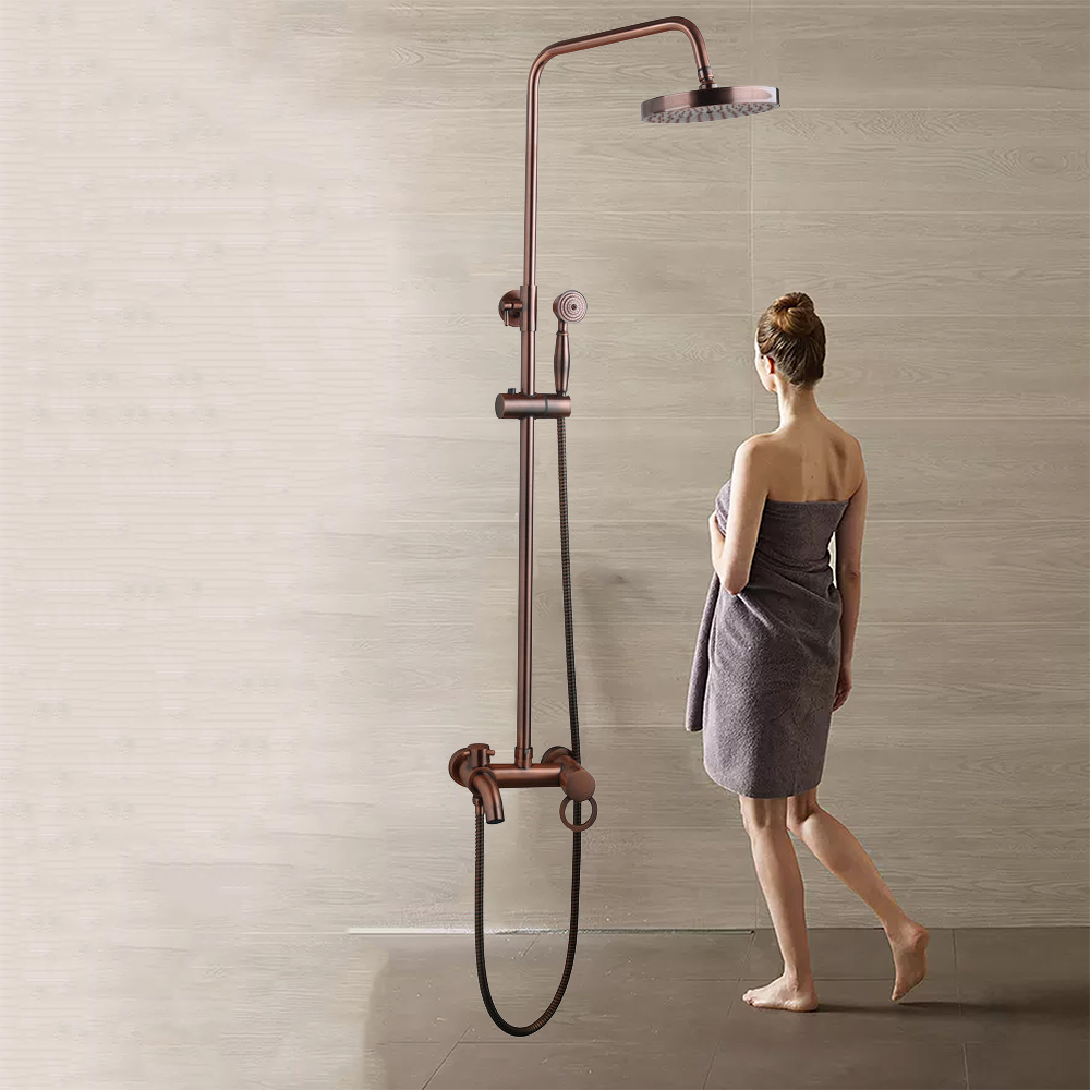 YANKSMART Antique Cooper Bathroom Shower Set Wall Mounted Mixer Double Handle Shower Room Accessories