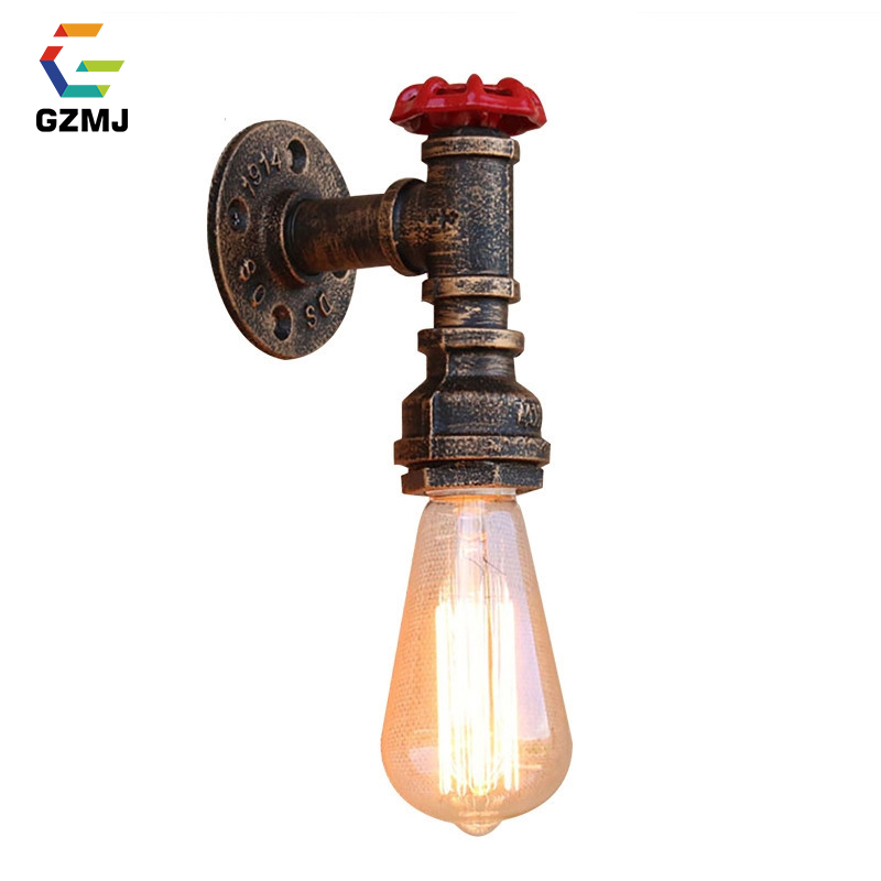 GZMJ Vintage Water Pipe Wall LED Lamp Industrial Decor E27 Sconce Wall Light Antique Rust Loft Wandlamp for Bar Bedroom Bathroom one light frosted glass antique rust hanging lantern