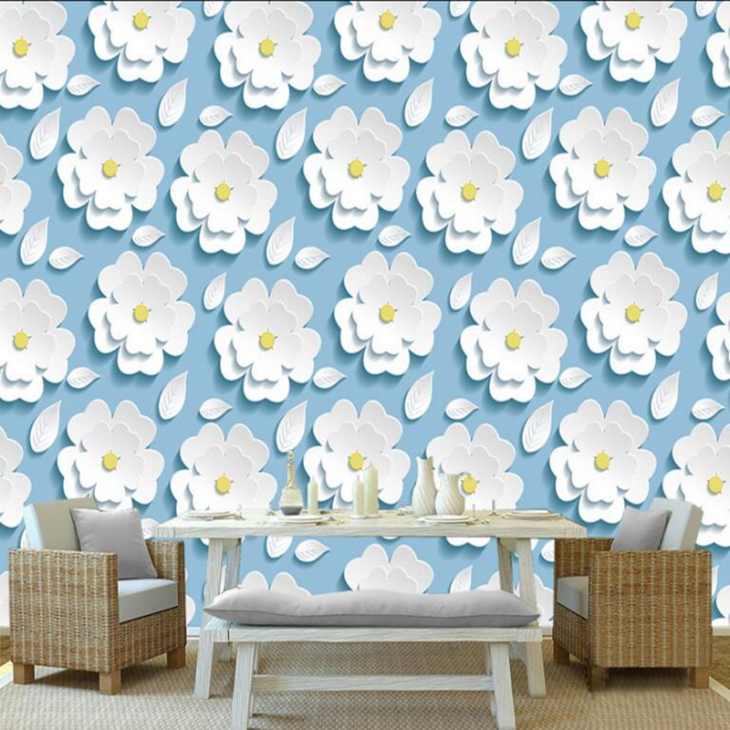 Custom Mural Wallpaper White Three-Dimensional Flowers Stylish and Elegant Free Wallpaper Living Room Desktop Wallpaper Mural custom baby wallpaper snow white and the seven dwarfs bedroom for the children s room mural backdrop stereoscopic 3d