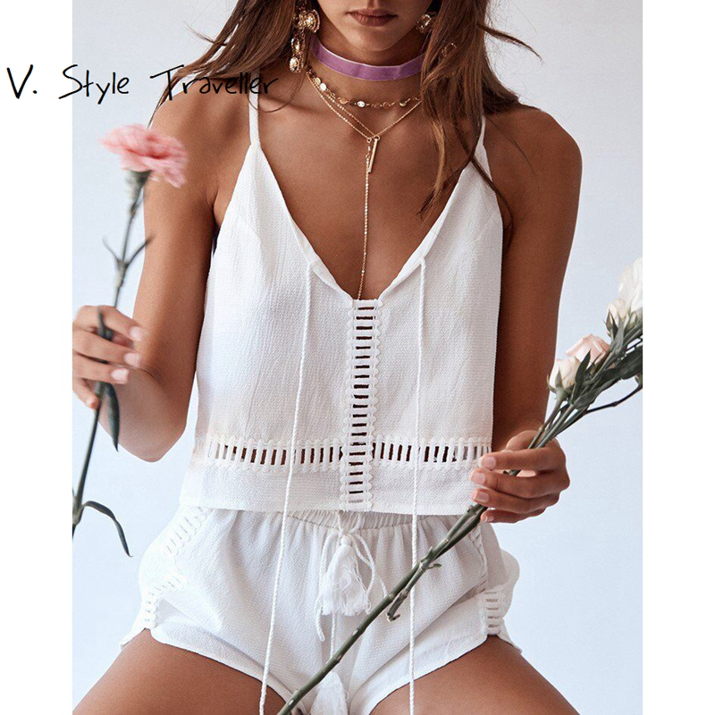 Casual White Camis Crop Top and Shorts Set Playsuit Sexy Bodysuit Women Shorts Boho Jumpsuit vestido Summer Style Tassels Romper
