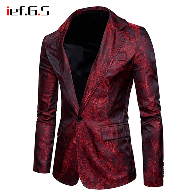 IEF.G.S Men Blazers Jacket Slim Fit Vestido Suit Dress Gold Blazer Coat Match Vest Hombre Blaser Masculino Formal Clothing Retro