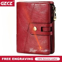 GZCZ 2018 New Genuine Leather Women Wallet Vintage Women S Short Purse Coin Pocket Hasp Photo