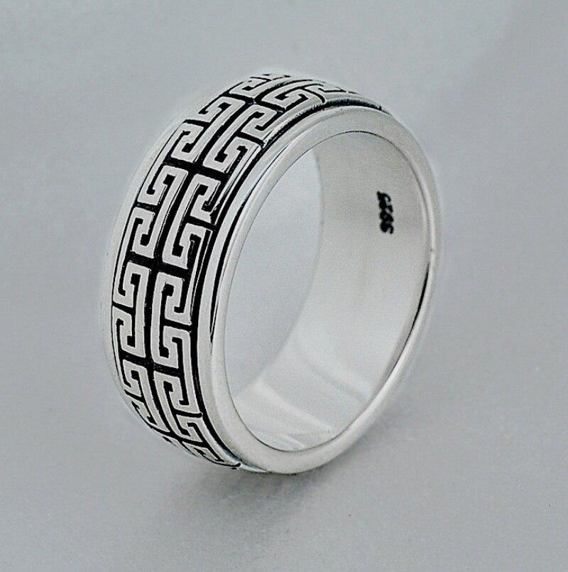 925 uomini sterling silver ring può girare vintage prepotente Grande Parete coppia gioielli