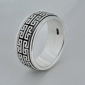 Image 5 - Prawdziwe srebro pierścień 925 Sterling srebrny pierścień mężczyzna kobiet S925 pierścień obracać się w stylu Vintage pierścień biżuteria prezent Great Wall ruchome S925 opaska pierścieniowa