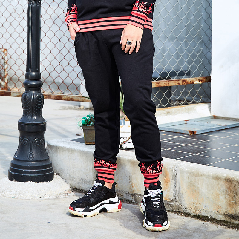 Men Gothic Stripe Flame Trasher Sweatpants 2017 Winter Mens Funny Blaze Printed Oversized Pants Hip Hop Pants Casual Harem Pants ...