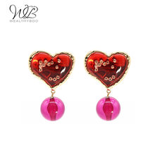 WEALTHYBOO 2018 New Arrival New Idea Red Multi Heart Shape With Resin Ball Earring For Women Fashion Jewelry(China)