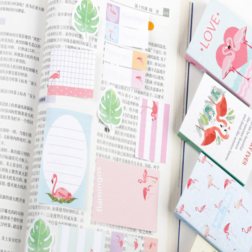 1pcs lot Cartoon Flamingo Series Fold Sticky Notes Memo Notepad Memo Writing Scratch Pad Message Paper Label in Stickers from Home Garden