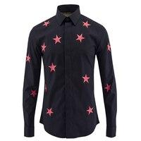 Luxury Men Shirt Brand Design Red Stars Printed Mens Dress Shirts Casual Cotton Slim Fit Chemise