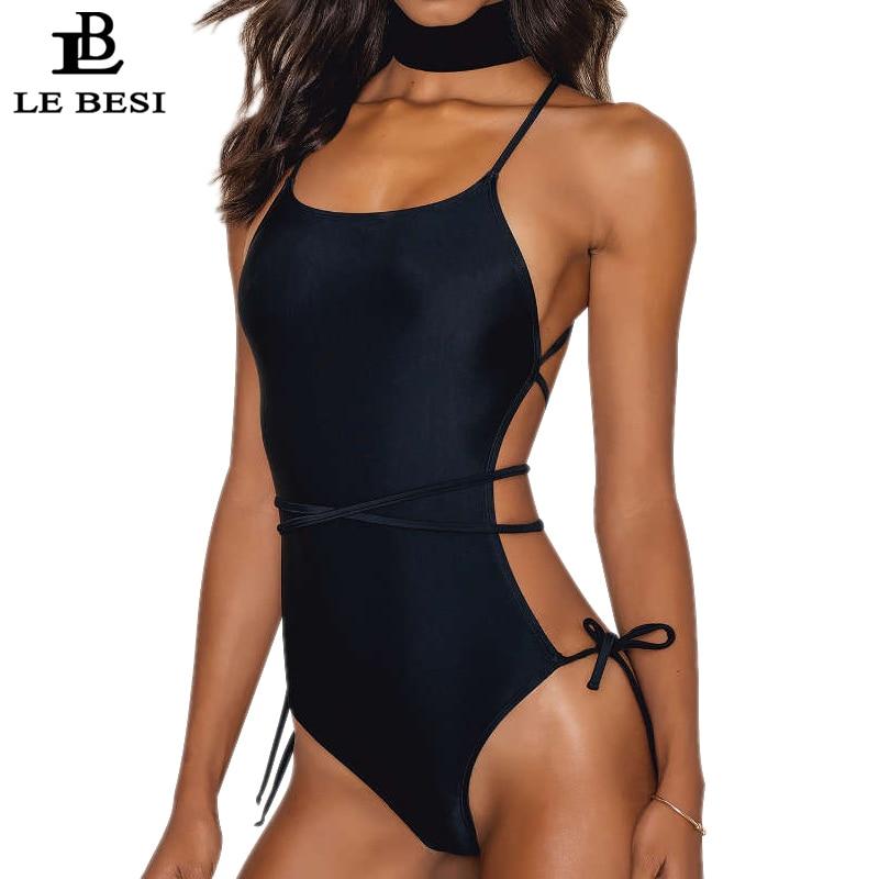 LEBESI 2017 New One Piece Swimwear Bandage Halter Top Swimsuit Women BathingSuit Cut Leg Bodysuit Beachwear Backless Monokini ...