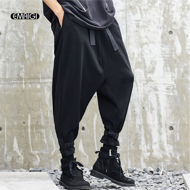 Men New Japan Style Loose Casual Wide Leg Pant Male Hip Hop Streetwear Punk Style Cross Trousers Harem Pant