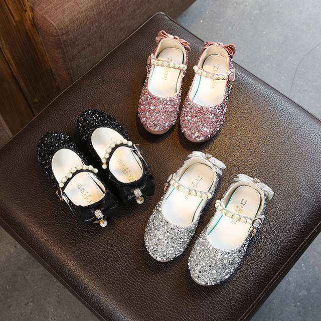 Autumn New Leather School Shoes Party For Kids Girls Children Soft Bottom  Princess Single Shoe Crystal Shoe d962237938df