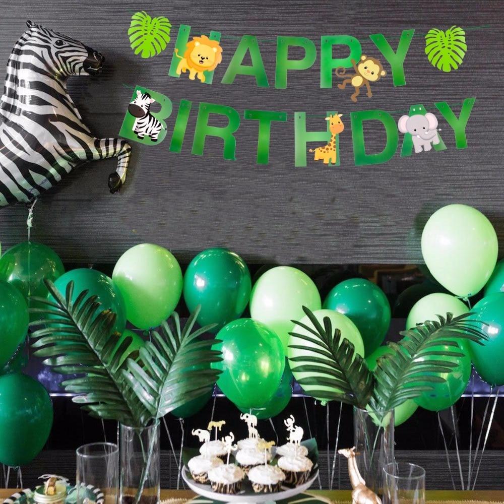 Birthday Kids Banner Safari Jungle Party Animal Party Set Happykupp