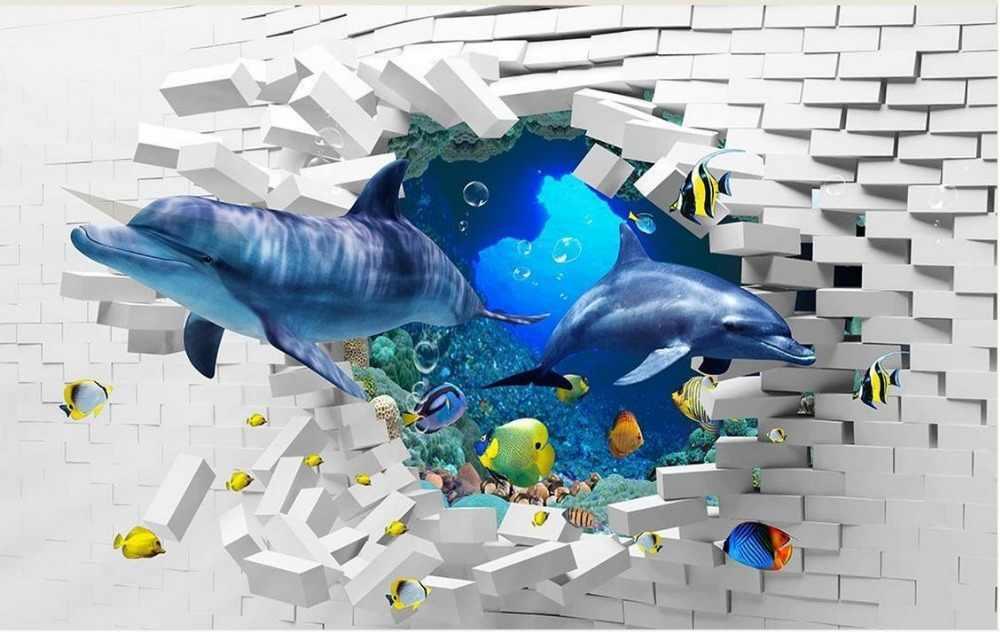 Papel pintado con foto 3D estereoscópico 3d mundo submarino delfín telón de fondo 3d papel tapiz estereoscópico 3D mural papel tapiz