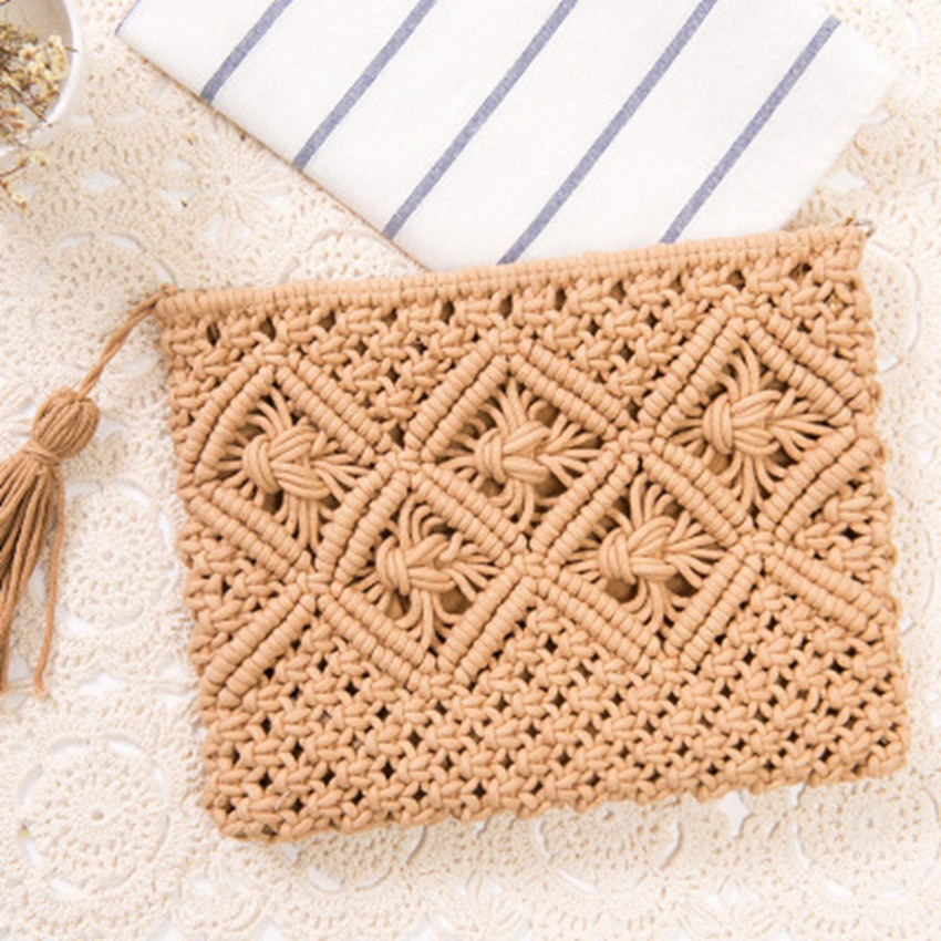 Straw-Bag Fringed Hand-Holding Vintage Summer Travel College-Style Simple