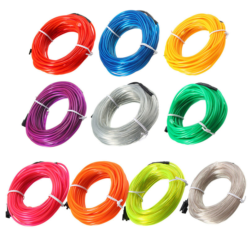 5M EL Soft Tube Strips Neon WIre For Home House Car Auto Decoration Bendable Flexible Party Events Deco EL Glow Rope