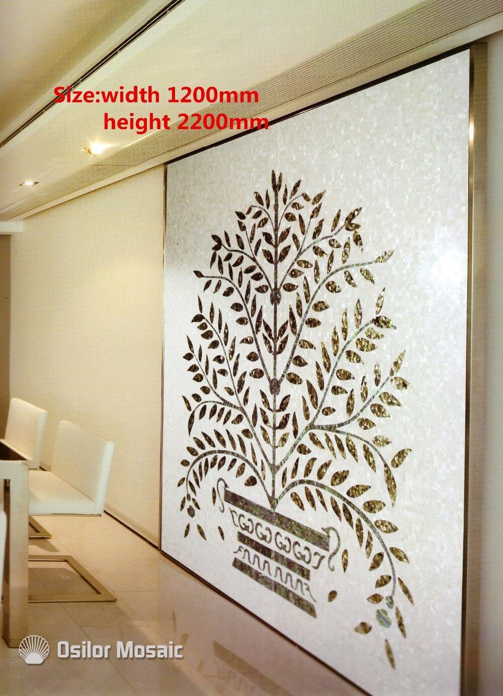 Personnalisé à la main mosaïque art mère de perle mosaïque tuile art peintures murales pour intérieur maison décoration arbre motif