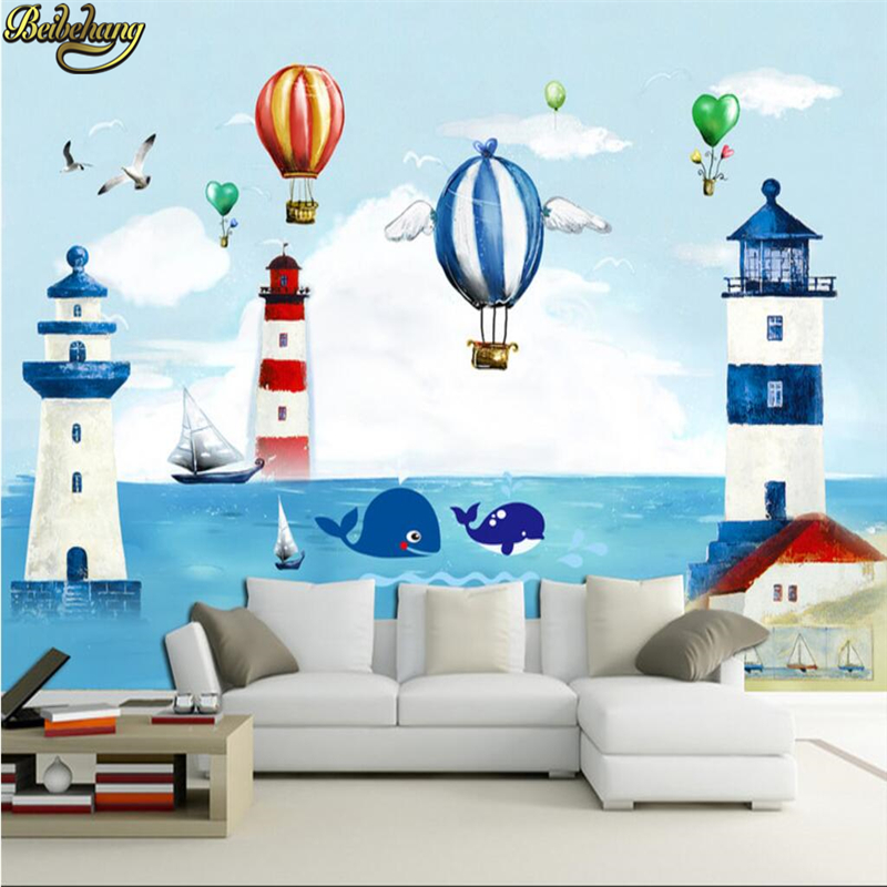 beibehang Mediterranean children room papel de parede 3d Wallpaper Cartoon Movie Wall Mural photo wallpaper Kid Bedroom flooring beibehang beautiful rose sea living room 3d flooring tiles papel de parede para quarto photo wall mural wallpaper roll walls 3d