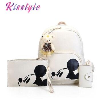 Kisstyle Women Composite Backpacks High Quality Pu Leather Fashion Mickey Backpack 3pcs/set Girls School Bag Mochila Feminina