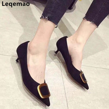 New Fashion Women High Quality Sheepskin Kid Suede Leather Office Lady Pump Med Heels Shollow Elegant Pointed Toe Dress Shoes