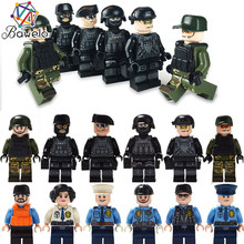 12pcs/lot Military Special police Compatible Legoings Military WW2 Armed Soldiers Force Action Figures Weapons Guns World War(China)