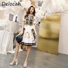 Delocah 2019 Women Spring Summer Dress Runway Fashion Designer Short Sleeve Geometric Printed Elegant Vintage Vacation Dresses