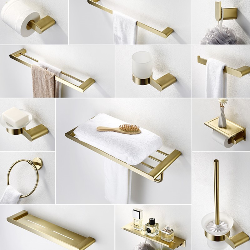 Us 13 11 18 Off 304 Stainless Steel Brushed Gold Bathroom Hardware Set Towle Bar Brush Accessories Toilet Paper Holder Robe Hooks In