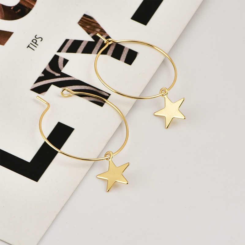 Yeni küpe popüler moda kişilik basit Pentagram küpe kadın aksesuarları toptan ve dış ticaret kadınlar için