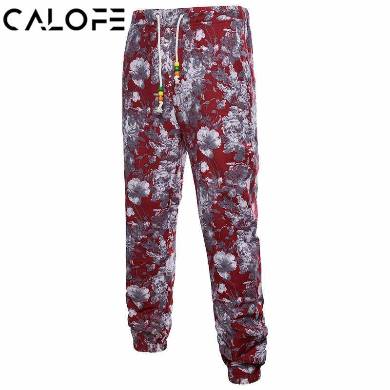 6c6554613aa5 CALOFE Plus Size Pants Men Fashion 3D Homer Floral Print Linen Joggers  Sweatpants Male Casual Summer