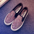 Loafers Shoes Woman 2017 Spring Fashion Gold Black Glitter Flats Women Flat Platform Casual Shoes Ladies Slip On Shoes Zapatos