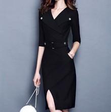 New Fall Season Front Split Black/Red Ladys Midi Knee-Length Dress