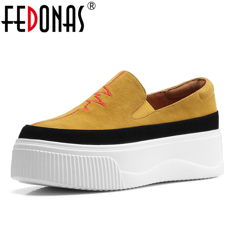 FEDONAS Fashion Women   Suede     Leather   Slip On Spring Summer Casual Shoes Woman Flats Platforms High Qulaity Cute Loafters Shoes