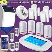 DIY K52 4,3 Сенсорный экран WI FI GSM сигнализация Системы охранной сигнализации приложение Управление PIR Сенсор двери Сенсор дыма вспышки строба с